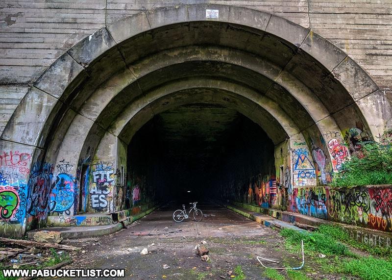 Abandoned Pennsylvania Turnpike Bike Trail near Breezewood.