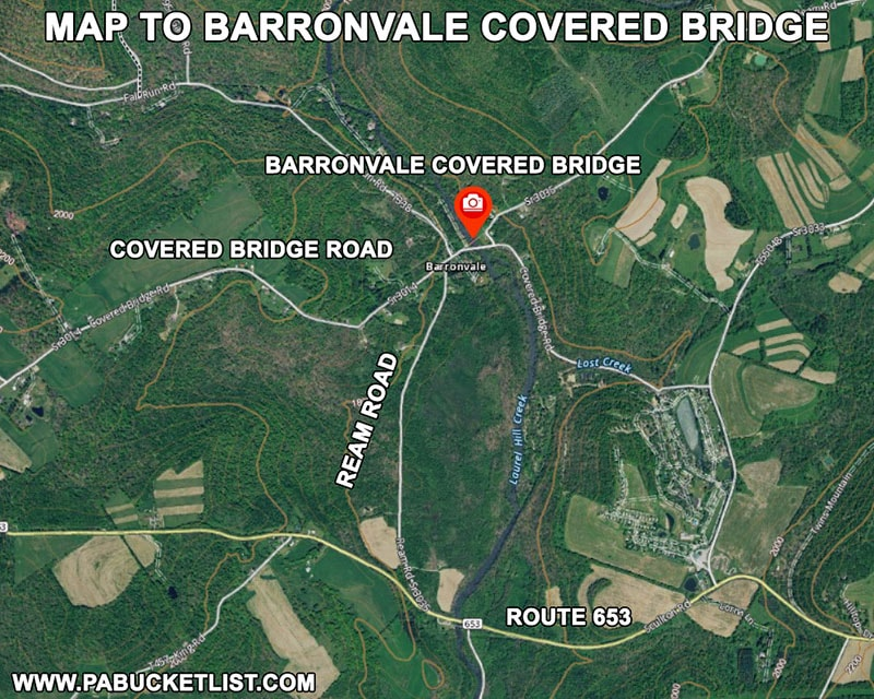 Map to Barronvale Covered Bridge in Somerset County Pennsylvania.