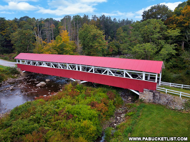 Aerial side view oof the Barronvale Covered Bridge in Somerset County PA.