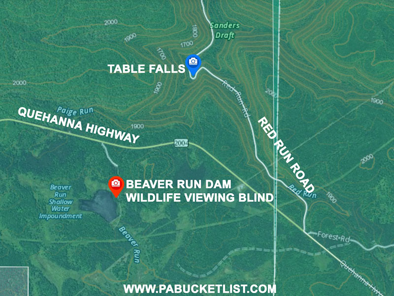 A map to Beaver Run Dam elk viewing area.