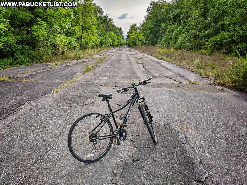Bicycling the Abandoned PA Turnpike in September 2020.
