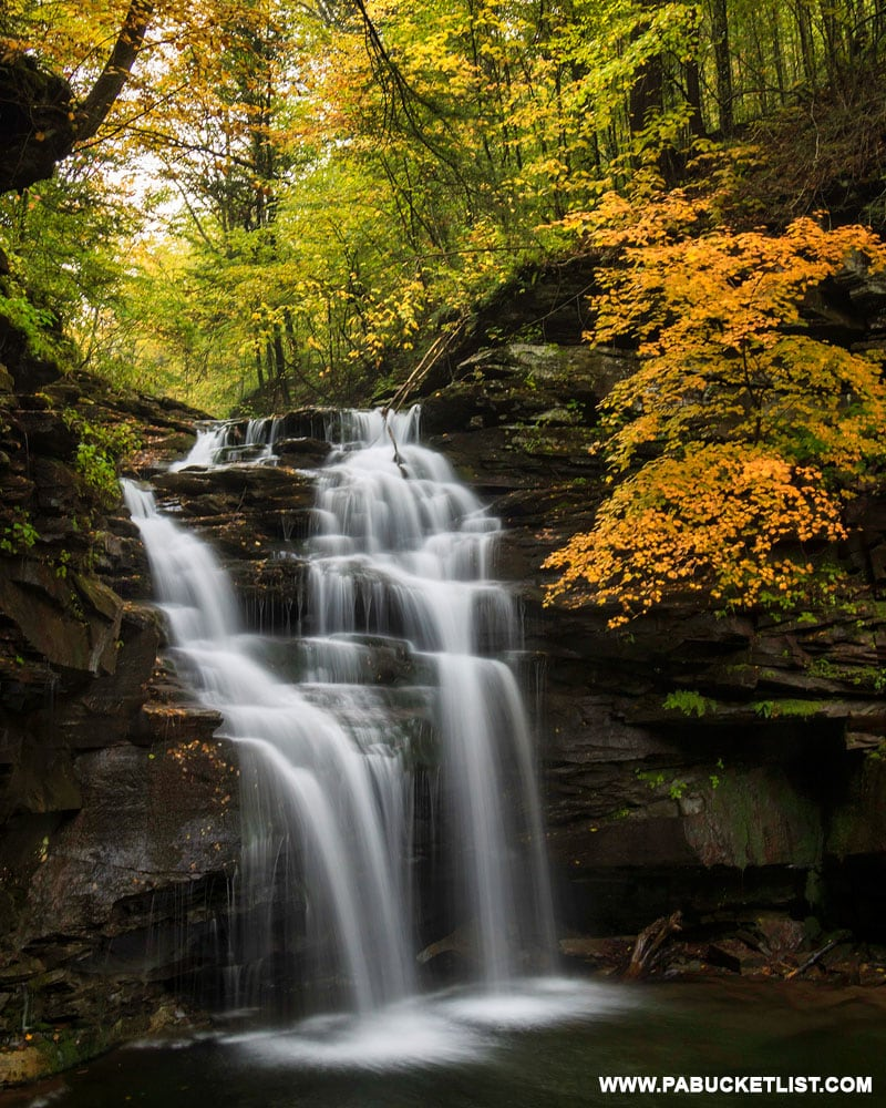 Fall foliage at Big Falls on Heberly Run in Sullivan County.