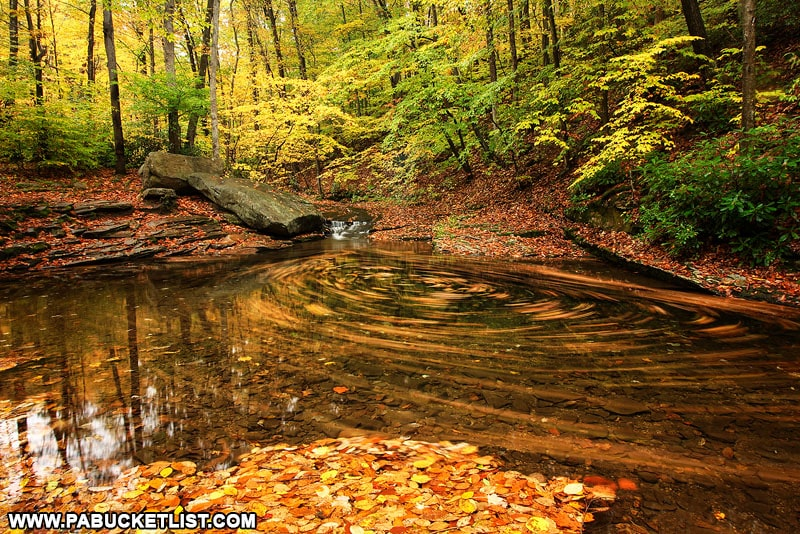 Fall foliage at the Blue Hole in Somerset County.