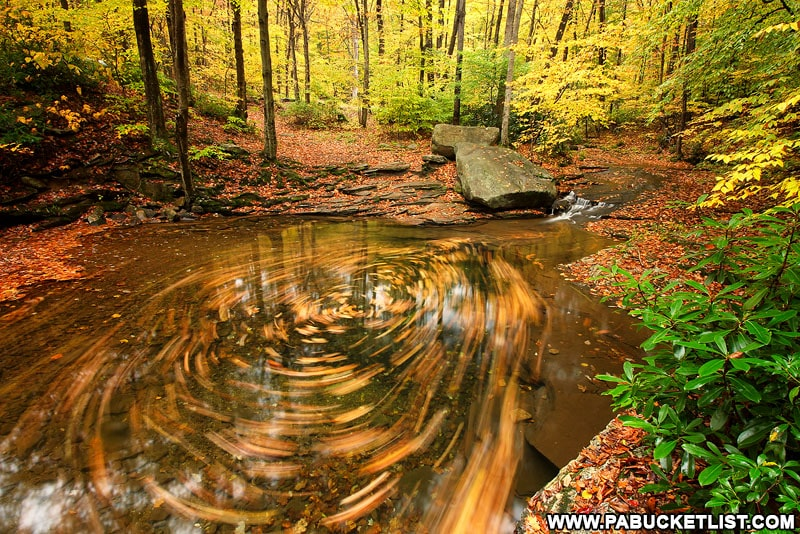 Fall foliage at the Blue Hole in the Laurel Highlands.
