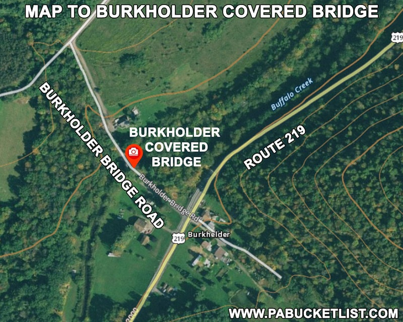Map to Burkholder Covered Bridge in Somerset County Pennsylvania.