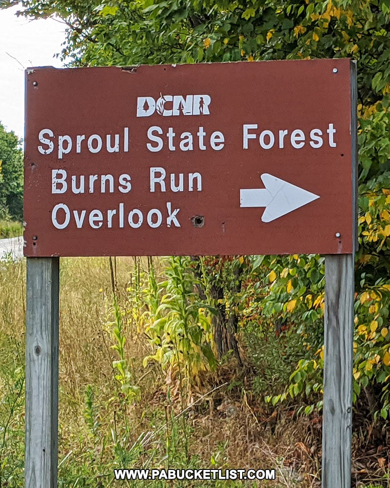 Burns Run Overlook sign along Route 144 in Clinton County.