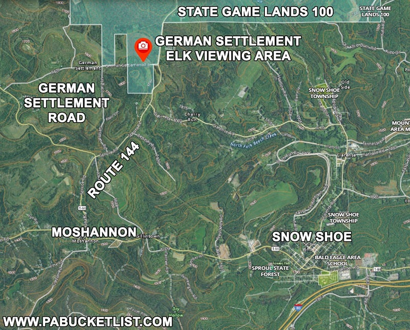 Map to the German Settlement elk viewing area on State Game Lands 100 in Centre County.