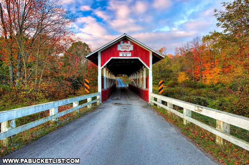 Fall foliage at Glessner Covered Bridge in Somerset County Pennsylvania