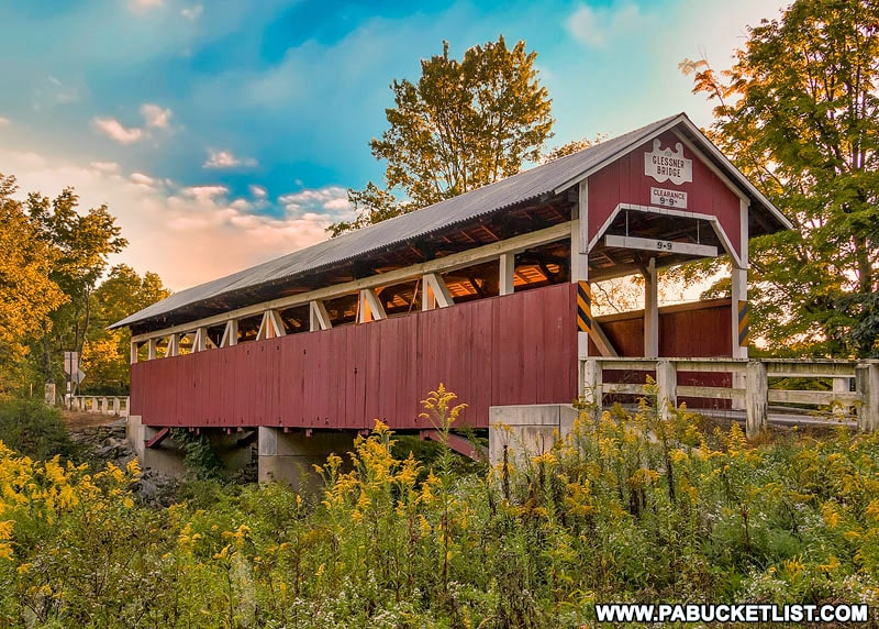Fall foliage around the Glessner Covered Bridge in the Laurel Highlands.