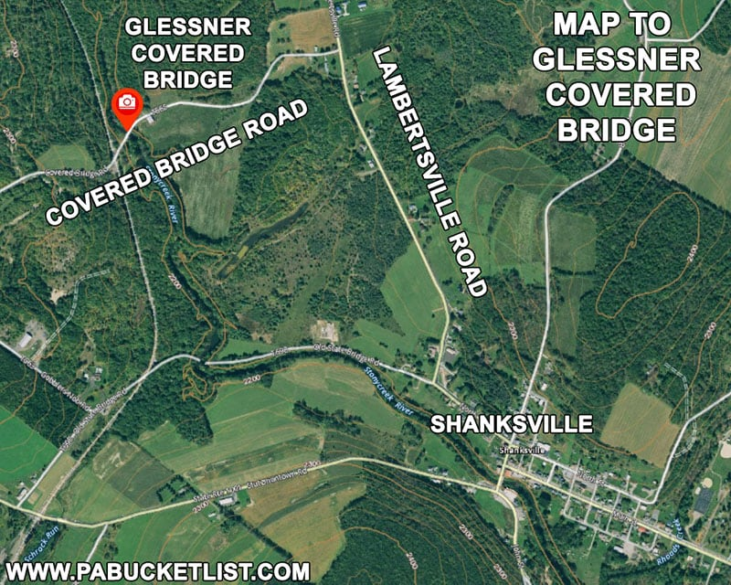 Map to Glessner Covered Bridge in Somerset County Pennsylvania.