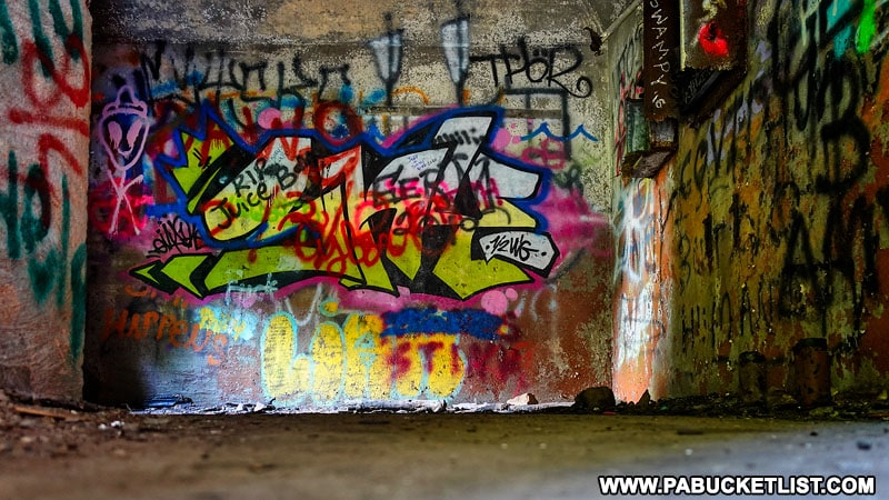 Graffiti inside the Rays Hill Tunnel office on the Abandoned PA Turnpike.