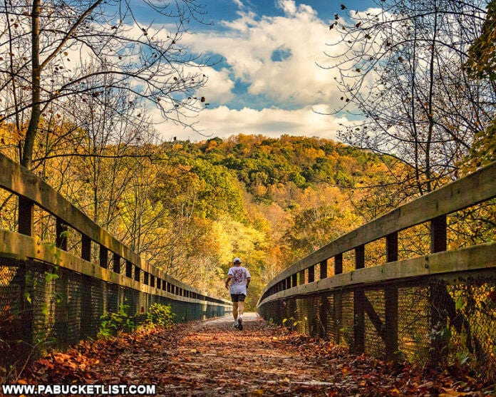 Fall foliage around the High Bridge at Ohiopyle State Park in the Laurel Highlands.