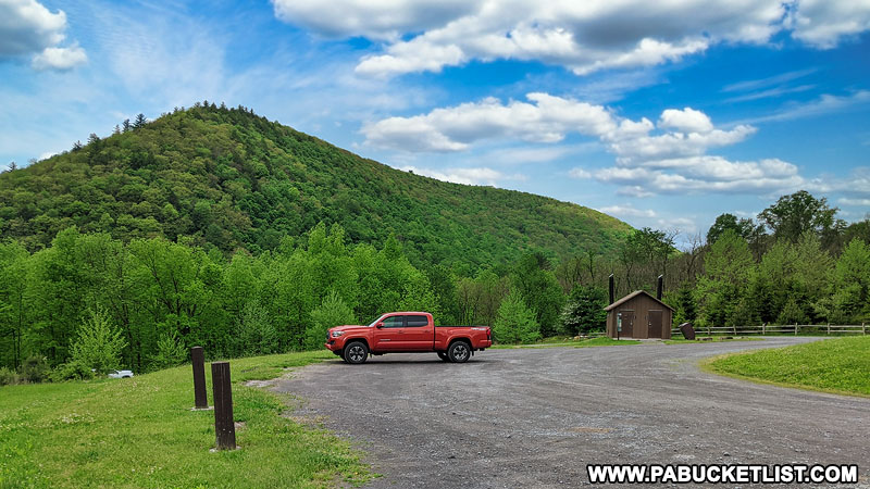 Parking area and restrooms at Hicks Run Wildlife Viewing Area.