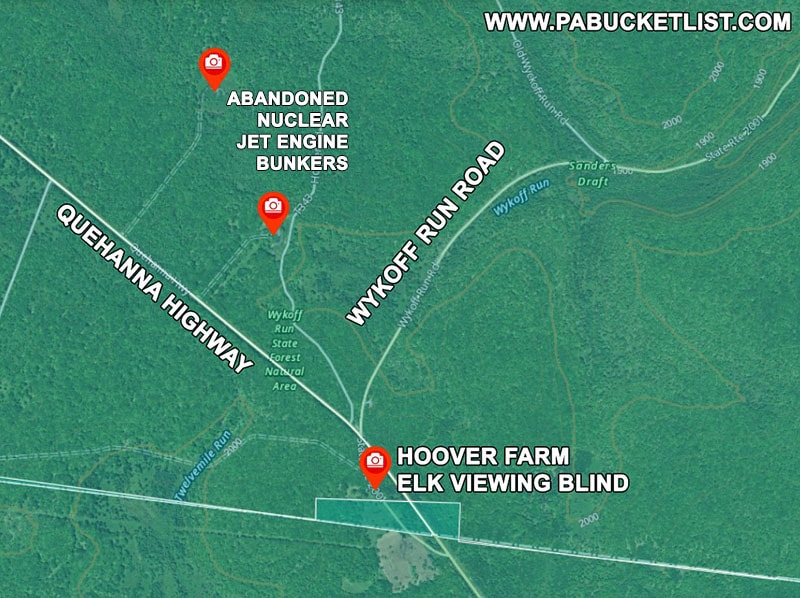 A map to Hoover Farm elk viewing area along the Quehanna Highway.