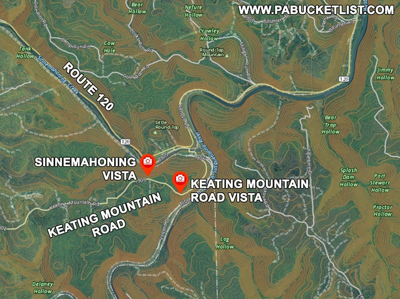 A map to Keating Mountain Road Vista and Sinnemahoning Vista in the Sproul State Forest.
