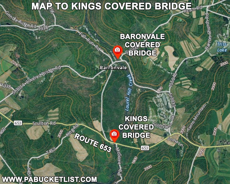 Map to Kings Covered Bridge in Somerset County Pennsylvania.