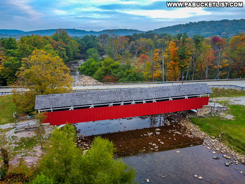 Aerial side view of Kings Covered Bridge in September 2020.