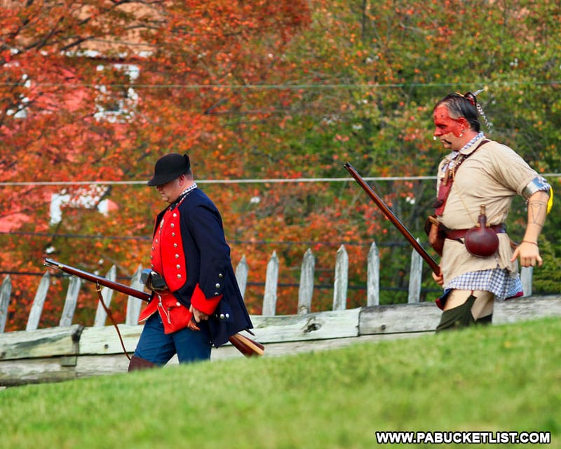 Fall foliage and historical reenactors at Fort Ligonier Days.