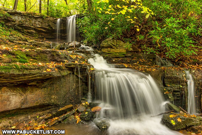 Fall foliage at Cole Run Falls in the Laurel Highlands.