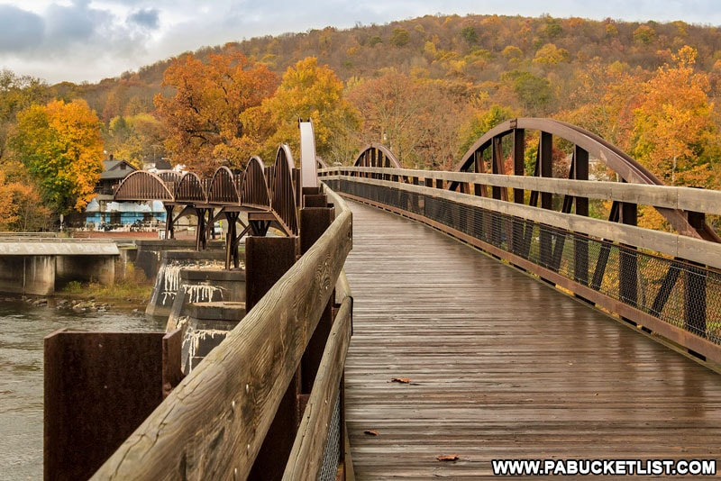 Fall foliage in Ohiopyle at the Low Bridge on the Great Allegheny Passage.