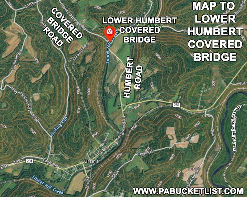 Map to Lower Humbert Covered Bridge in Somerset County Pennsylvania.
