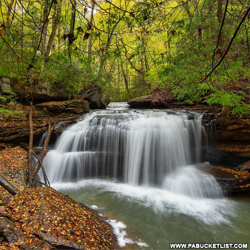 Fall foliage at Lower Jonathan Run Falls at Ohiopyle State Park.