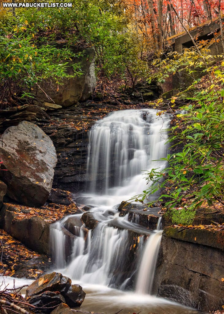Fall foliage at Lower Sugar Run Falls at Ohiopyle State Park.
