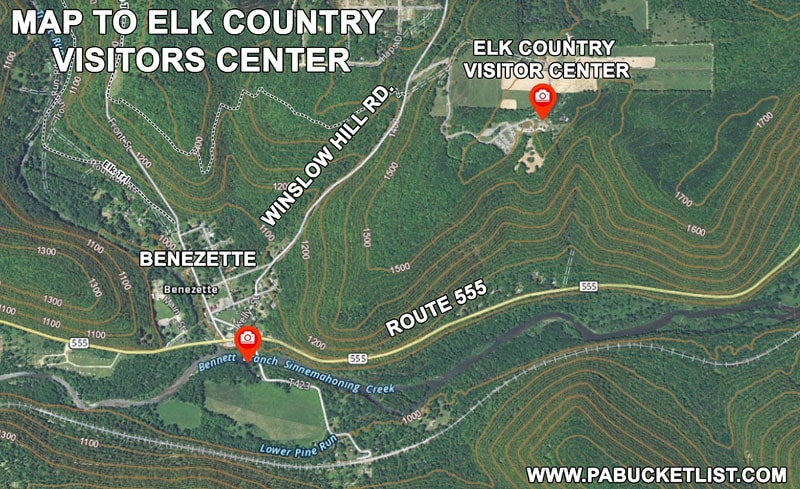 A map to the Elk Country Visitors Center in Benezette Pennsylvania