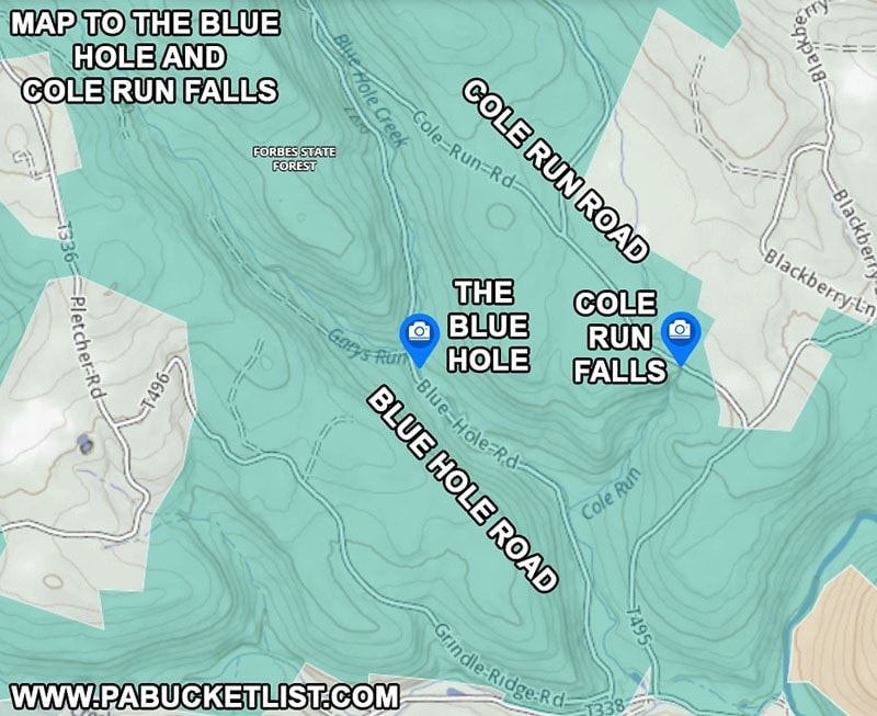 A map to the Blue Hole in the Forbes State Forest in Somerset County PA