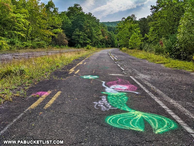 Mermaid graffiti along the Abandoned PA Turnpike in Fulton County.