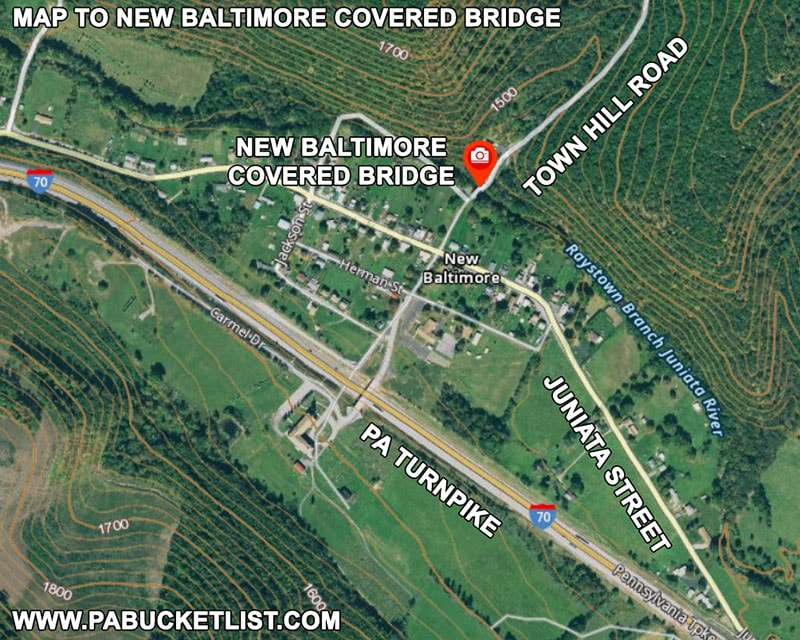 Map to New Baltimore Covered Bridge in Somerset County Pennsylvania.