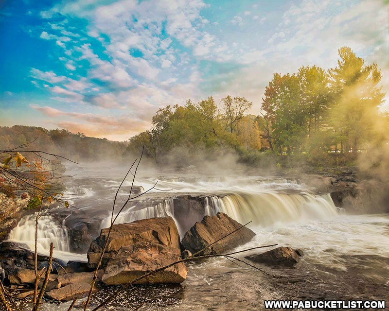 Fall foliage at Ohiopyle Falls in the Laurel Highlands.