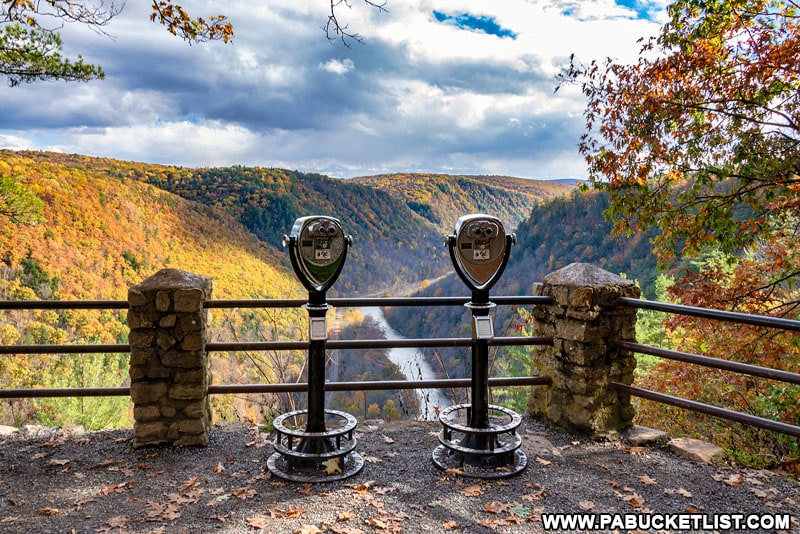 A PA Grand Canyon Overlook with a view of the fall foliage in Tioga County.