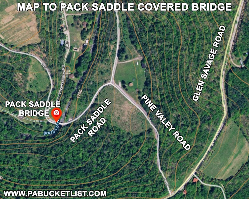 Map to Pack Saddle Covered Bridge in Somerset County Pennsylvania.
