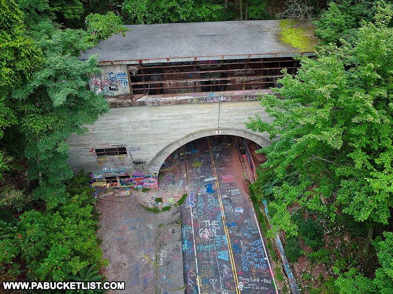 View from above Rays Hill Tunnel along the Abandoned PA Turnpike near Breezewood.