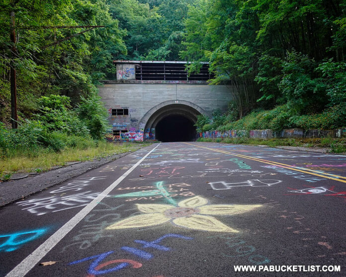The western portal of Rays Hill Tunnel along the Abandoned PA Turnpike