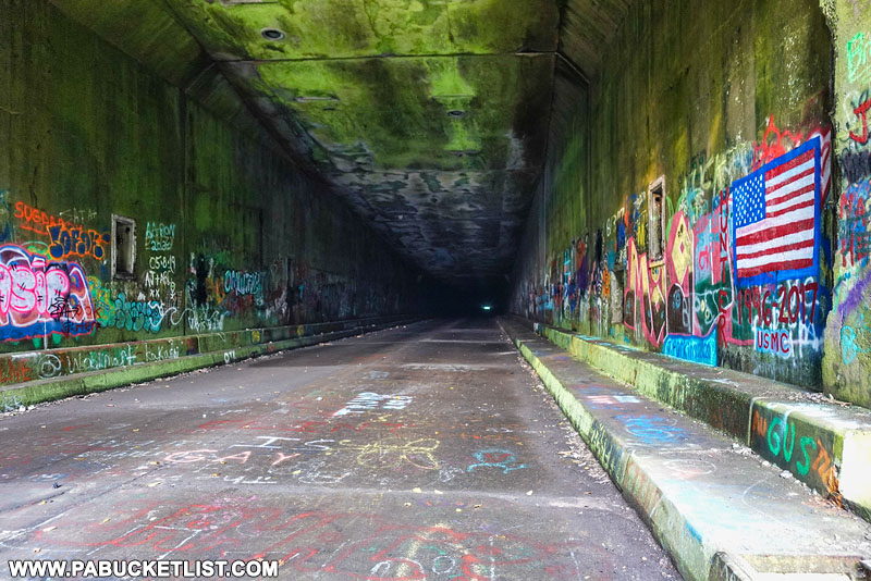 Interior of Rays Hill Tunnel along the Abandoned PA turnpike.