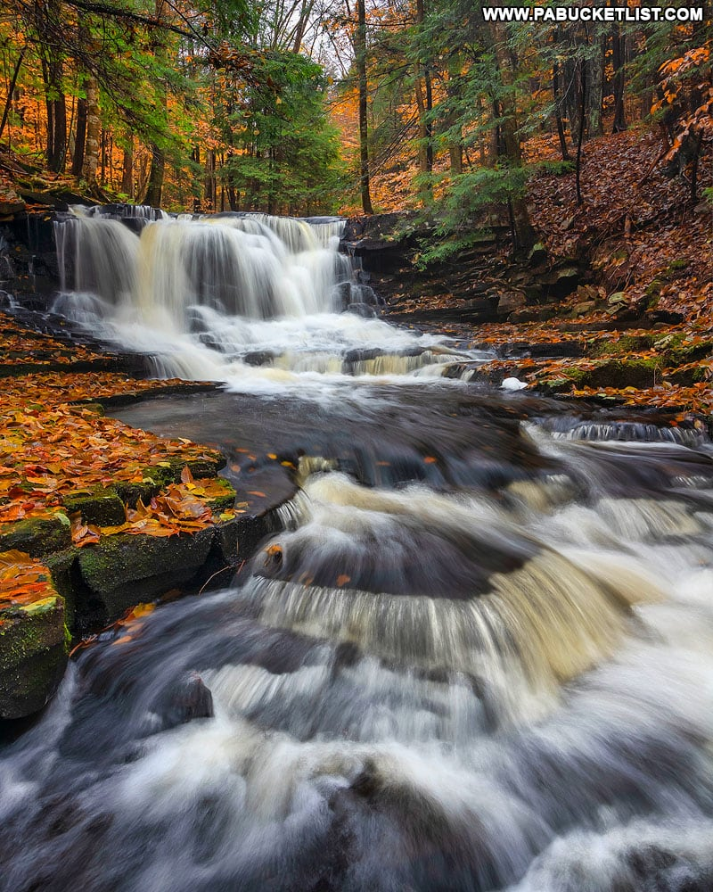 Fall foliage at Rusty Run Falls in the Loyalsock State Forest.