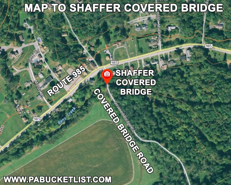 Map to Shaffer Covered Bridge in Somerset County Pennsylvania