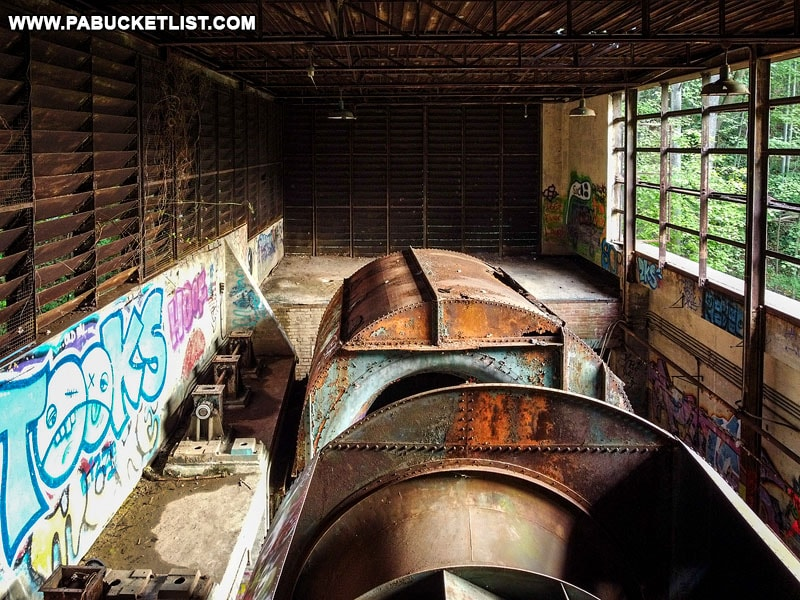 Ventilation turbines above the Sideling Hill Tunnel on the Abandoned PA Turnpike.