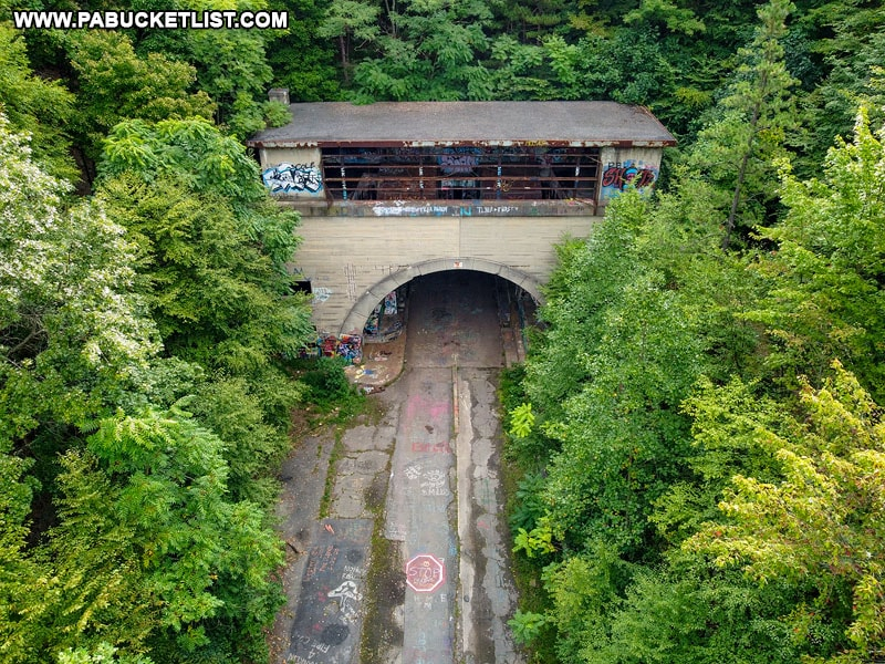 Aerial view of the eastern portal of the Sideling Hill Tunnel along the Abandoned PA Turnpike.
