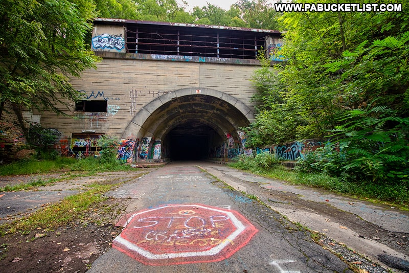 Western portal of the Sideling Hill Tunnel along the Abandoned PA Turnpike.