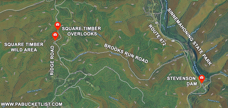 A map to the Square Timber Wild Area and elk viewing area in Cameron County PA.