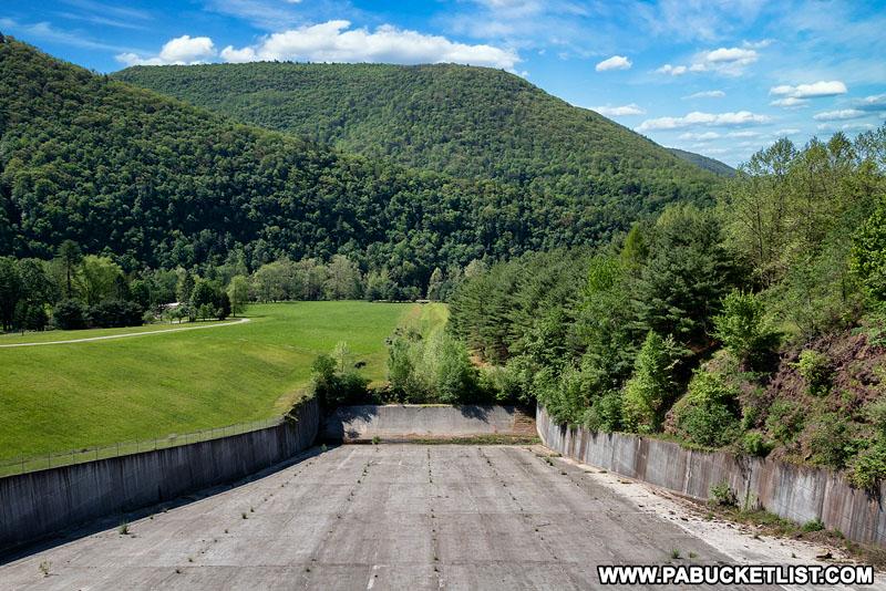 Stevenson Dam spillway area at Sinnemahoning State Park.