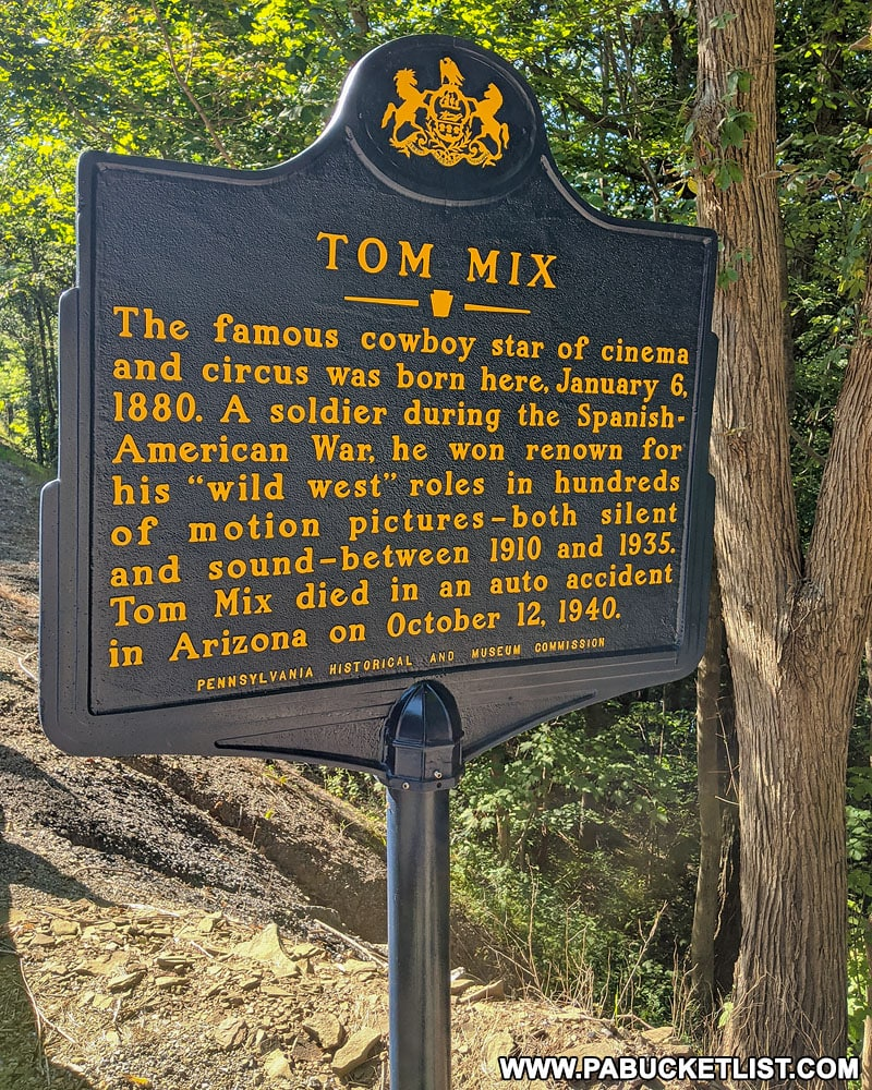Tom Mix plaque along Route 555 near Driftwood.