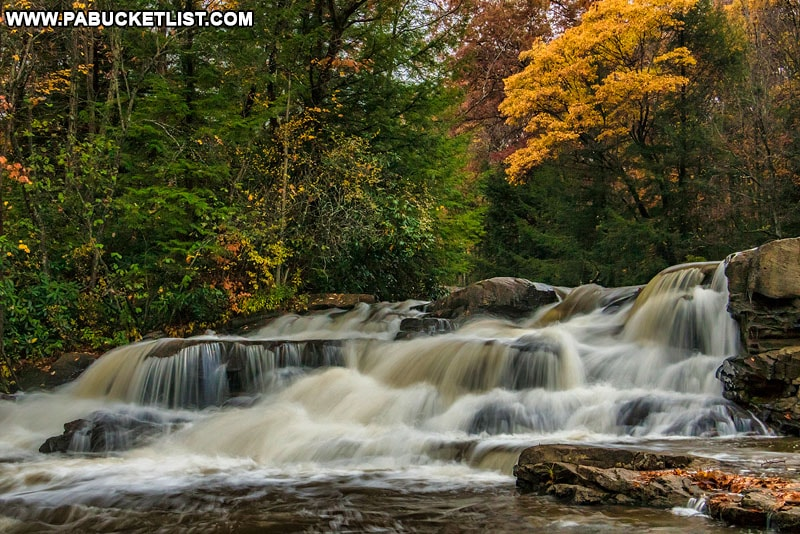 Fall foliage at the Upper Cascades on Meadow Run at Ohiopyle State Park.