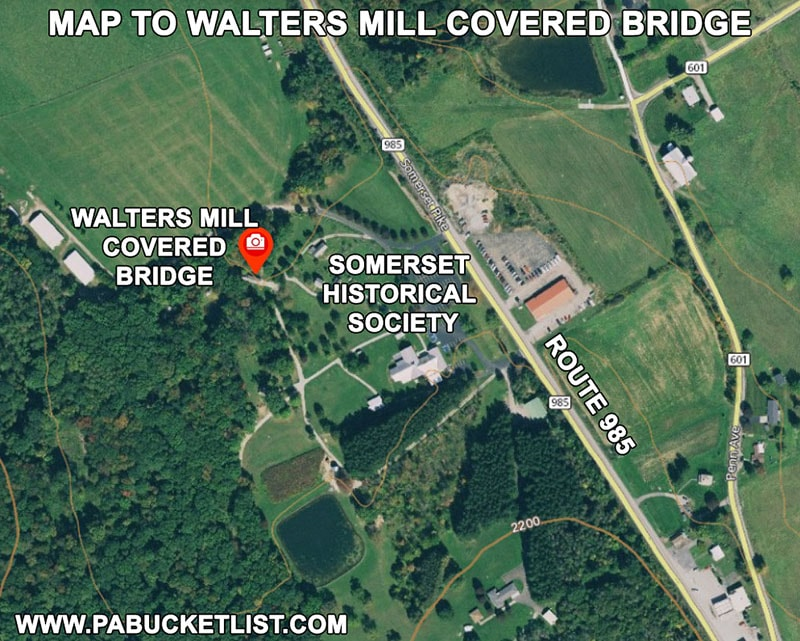 Map to Walters Mill Covered Bridge in Somerset County Pennsylvania.