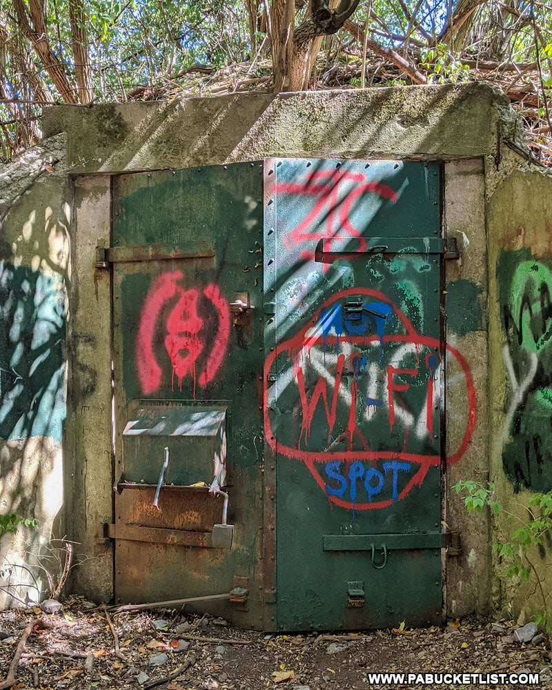 Locked door to one of the abandoned Alvira bunkers in Union County.