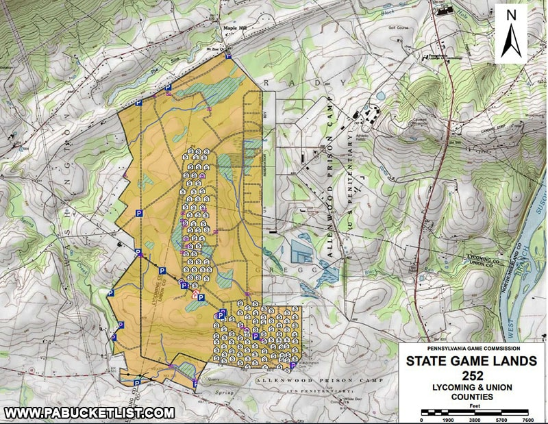 Locations of the Alvira Bunkers on State Game Lands 252 in Union County Pennsylvania