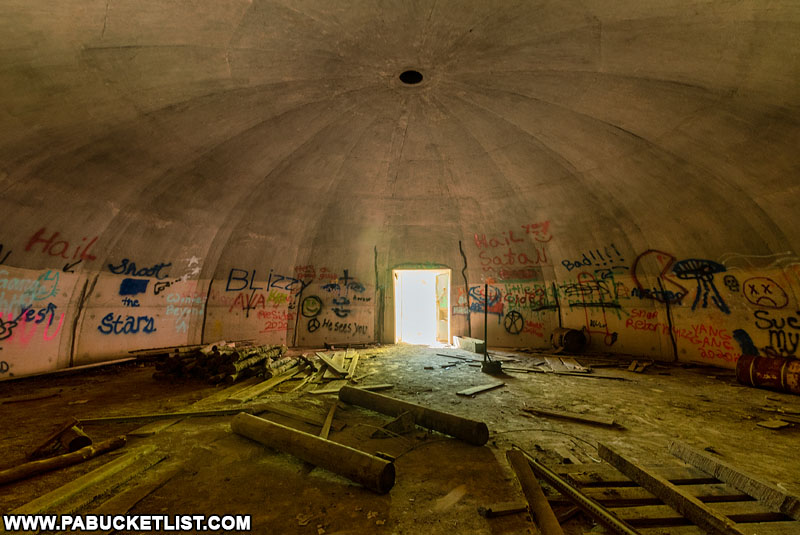 Inside one of the concrete igloo-like bunkers on State Game Lands 252